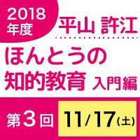 【第3回】11月17日(土) 平山許江 ほんとうの知的教育 入門編「学びの充実」